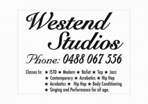 Westend Studios classes sign